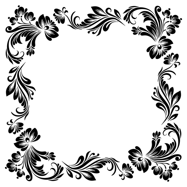 Ornament floral retro frame vector material 03