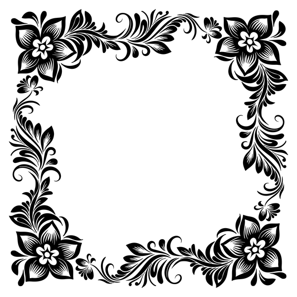 Ornament floral retro frame vector material 05