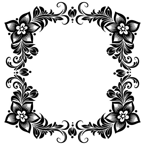 Ornament floral retro frame vector material 07