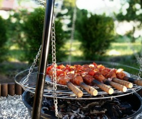 Outdoor Barbecue Sausage Stock Photo
