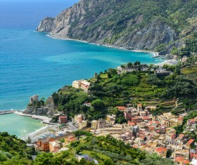 Overlooking the Italian seaside tourism Cinque Terre Stock Photo 01
