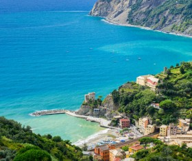 Overlooking the Italian seaside tourism Cinque Terre Stock Photo 02