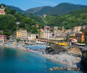 Overlooking the Italian seaside tourism Cinque Terre Stock Photo 03