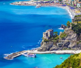 Overlooking the Italian seaside tourism Cinque Terre Stock Photo 04