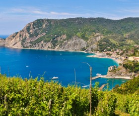 Overlooking the Italian seaside tourism Cinque Terre Stock Photo 05