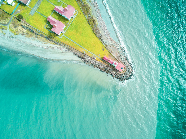 Peaceful island sea cap scene from high view Stock Photo