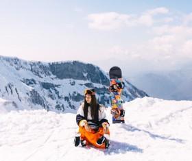 Peak skiing Stock Photo