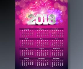 Pink 2018 calendar template vectors material