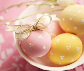 Pink and yellow Easter eggs Stock Photo 01