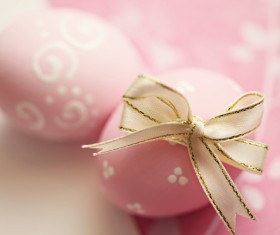 Pink easter eggs tied ribbons Stock Photo