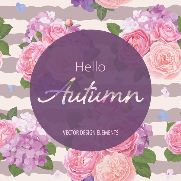 Pink rose with autumn card vector