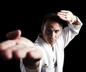 Practice karate man Stock Photo