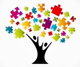 Puzzle Tree business template vector