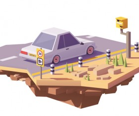 Radar speed camera on the road and car vector