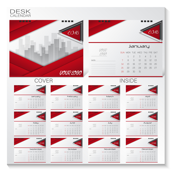 Red 2018 desk calender cover with inside page vector
