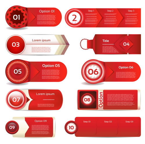 Red business banners design vector
