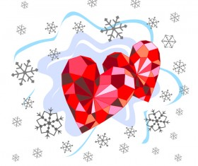 Red diamond heart with valentine background vector