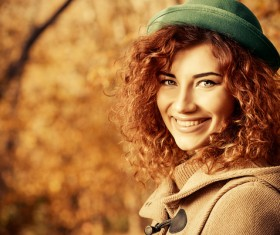 Red haired girl walking in the autumn park Stock Photo 03