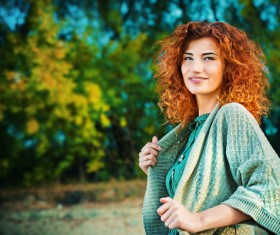 Red haired girl walking in the autumn park Stock Photo 08