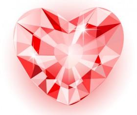 Red heart shape diamond vector illustration 05