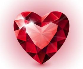 Red heart shape diamond vector illustration 06