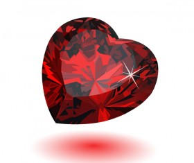 Red heart shape diamond vector illustration 07
