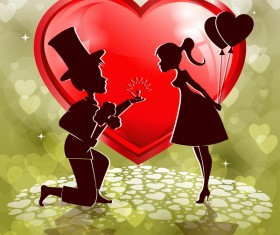 Red heart shape with lovers design vector 02