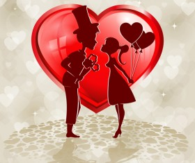 Red heart shape with lovers design vector 03