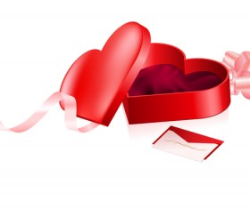 Red heart with valentine gift box vector