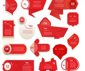 Red origami banners design vector 01