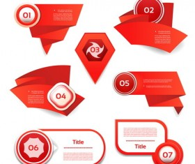 Red origami banners design vector 02