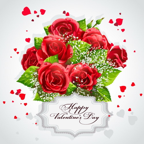 Red rose with valentine label vector design