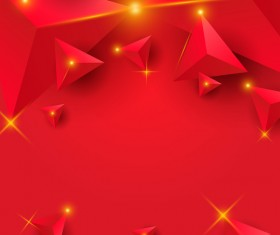 Red triangle background with star light vector