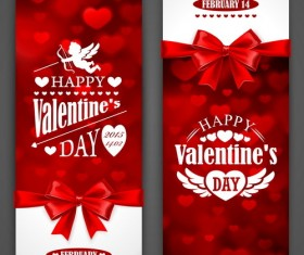 Red valentine card with bows vector