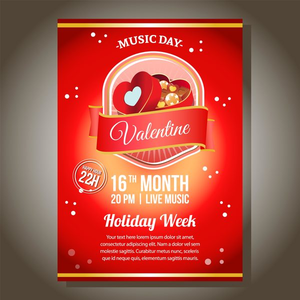 Red Valentine Party Poster With Chocolate Box Vector Free Download