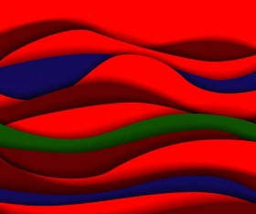 Red with blue and green wavy background vector