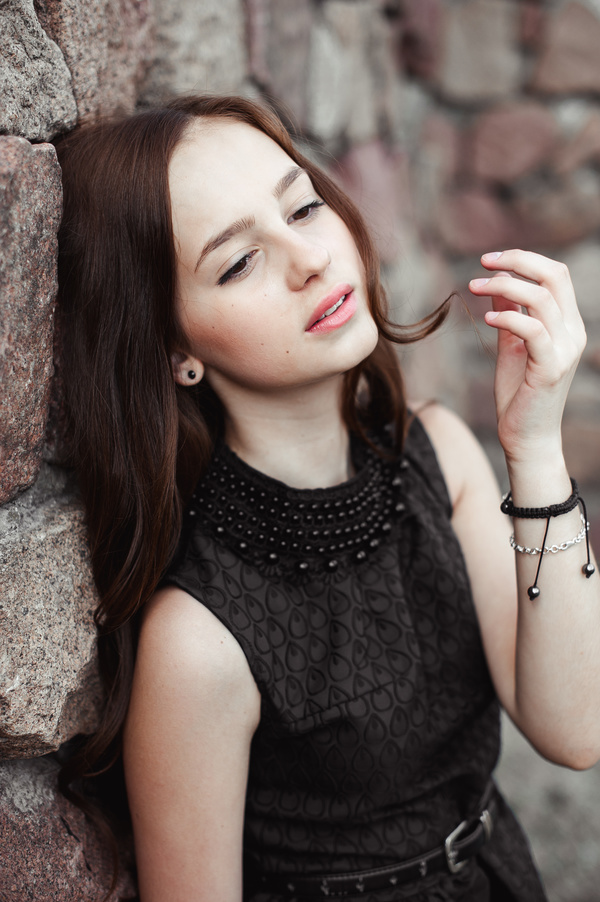 Rely On The Wall Beautiful Young Lady Stock Photo 01 Free -3417