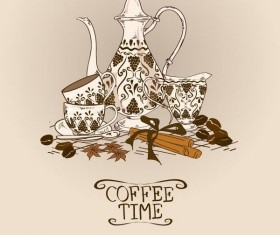 Retro coffee time vector design 01
