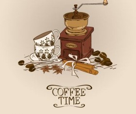 Retro coffee time vector design 02