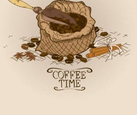 Retro coffee time vector design 04