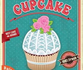 Retro cupcake poster template vector material