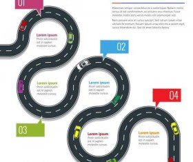 Road map infographic template vector 01