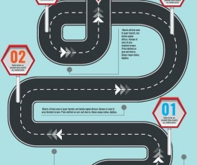 Road map infographic template vector 02