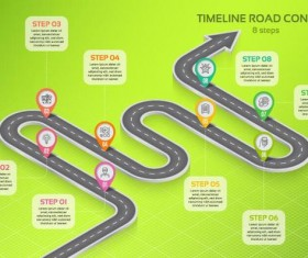 Road map infographic template vector 04