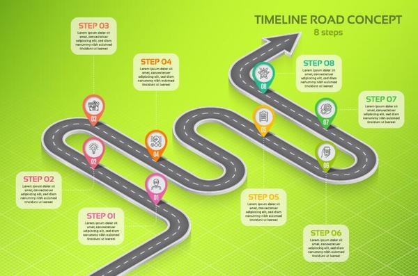 Road Map Infographic Template Vector 04 Free Download