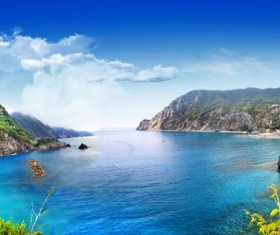 Romantic dazzling blue sea water Stock Photo