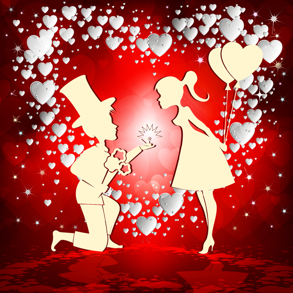 Romantic Valentine Day Card With Lovers Vector Material 01 Free Download