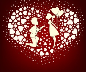 Romantic valentine day card with lovers vector material 02