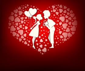 Romantic valentine day card with lovers vector material 03