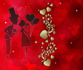 Romantic valentine day card with lovers vector material 04